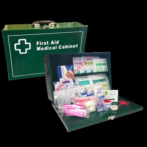 Metal wall mountable first aid kit