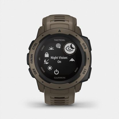 """Instinct tactical hr 2001. 3 1 <ul> <li>constructed for thermal, shock and water resistance (<a href=""""https://www. Garmin. Com/en-us/legal/waterrating"""">rated to 100 meters</a>)</li> <li>built-in 3-axis compass and barometric altimeter plus multiple global navigation satellite systems (gps, glonass and galileo) support helps track in more challenging environments than gps alone</li> <li>monitor your heart rate¹, activity and stress; train with preloaded activity profiles</li> <li>stay connected with smart notifications² and automatic data uploads to the garmin connect™ online fitness community</li> <li>use the tracback® feature to navigate the same route back to your starting point; use the garmin explore™<a href=""""https://explore. Garmin. Com/account/logon? Returnurl=%2f"""">website</a>and<a href=""""https://buy. Garmin. Com/en-us/us/p/614327"""">app</a>to plan your trips in advance</li> <li>battery life: up to 14 days in smartwatch mode, up to 16 hours in gps mode, up to 40 hours in ultratrac™ battery saver mode</li> </ul>"""