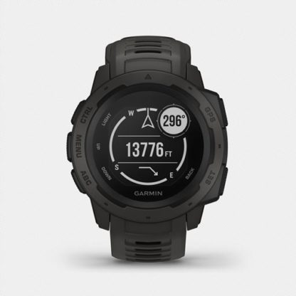 R instinct hr 1003. 1 when you can rely on <strong>instinct™</strong>, the world can rely on you. This rugged gps watch is built to mil-std-810g and is water-rated to 100 meters. A built-in 3-axis compass and barometric altimeter plus multiple global navigation satellite systems help you track in more challenging environments. <ul> <li>rugged gps watch is water-rated to 100 meters and constructed to mil-std-810g for thermal, shock and water resistance</li> <li>built-in 3-axis compass and barometric altimeter plus multiple global navigation satellite systems (gps, glonass and galileo) track in more challenging environments than gps alone</li> <li>monitor your heart rate<sup>1</sup>, activity and stress, and train with preloaded activity profiles such as running, biking, swimming, hiking and more</li> <li>stay connected with smart notifications<sup>2</sup> and automatic uploads to the garmin connect™ online fitness community</li> <li>use the tracback® feature to navigate the same route back to your starting point; use the garmin explore™ website and app to plan your trips in advance</li> <li>battery life<sup>3</sup>: up to 14 days in smartwatch mode, up to 16 hours in gps mode, up to 40 hours in ultratrac™ battery saver mode</li> </ul>