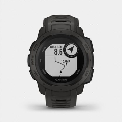R instinct hr 1003. 5 when you can rely on <strong>instinct™</strong>, the world can rely on you. This rugged gps watch is built to mil-std-810g and is water-rated to 100 meters. A built-in 3-axis compass and barometric altimeter plus multiple global navigation satellite systems help you track in more challenging environments. <ul> <li>rugged gps watch is water-rated to 100 meters and constructed to mil-std-810g for thermal, shock and water resistance</li> <li>built-in 3-axis compass and barometric altimeter plus multiple global navigation satellite systems (gps, glonass and galileo) track in more challenging environments than gps alone</li> <li>monitor your heart rate<sup>1</sup>, activity and stress, and train with preloaded activity profiles such as running, biking, swimming, hiking and more</li> <li>stay connected with smart notifications<sup>2</sup> and automatic uploads to the garmin connect™ online fitness community</li> <li>use the tracback® feature to navigate the same route back to your starting point; use the garmin explore™ website and app to plan your trips in advance</li> <li>battery life<sup>3</sup>: up to 14 days in smartwatch mode, up to 16 hours in gps mode, up to 40 hours in ultratrac™ battery saver mode</li> </ul>