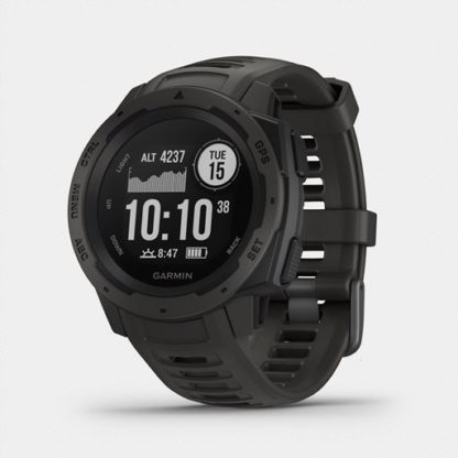 R instinct hr 1005. 10 when you can rely on <strong>instinct™</strong>, the world can rely on you. This rugged gps watch is built to mil-std-810g and is water-rated to 100 meters. A built-in 3-axis compass and barometric altimeter plus multiple global navigation satellite systems help you track in more challenging environments. <ul> <li>rugged gps watch is water-rated to 100 meters and constructed to mil-std-810g for thermal, shock and water resistance</li> <li>built-in 3-axis compass and barometric altimeter plus multiple global navigation satellite systems (gps, glonass and galileo) track in more challenging environments than gps alone</li> <li>monitor your heart rate<sup>1</sup>, activity and stress, and train with preloaded activity profiles such as running, biking, swimming, hiking and more</li> <li>stay connected with smart notifications<sup>2</sup> and automatic uploads to the garmin connect™ online fitness community</li> <li>use the tracback® feature to navigate the same route back to your starting point; use the garmin explore™ website and app to plan your trips in advance</li> <li>battery life<sup>3</sup>: up to 14 days in smartwatch mode, up to 16 hours in gps mode, up to 40 hours in ultratrac™ battery saver mode</li> </ul>
