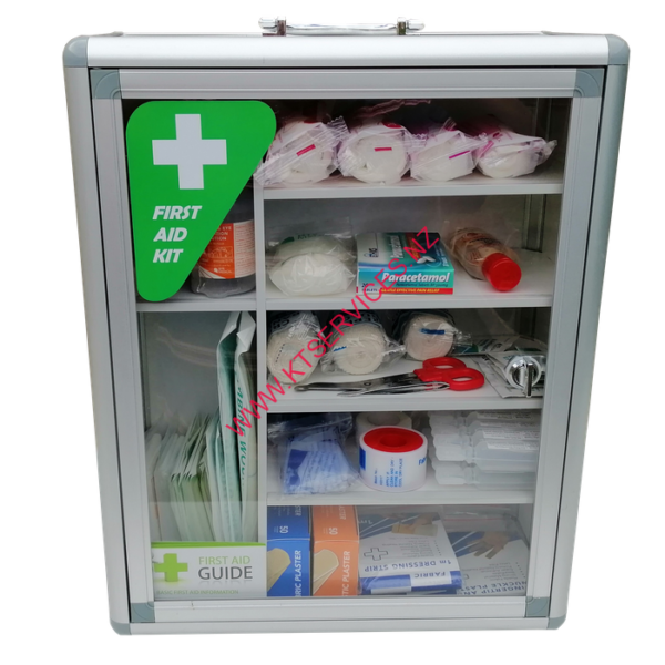 Clear front first aid cabinet
